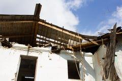 Broken house roof Stock Photo