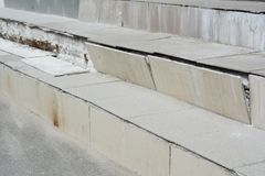 Broken house steps need to repair. Home amaged stair case outdoors stock images