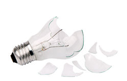 Broken Household Light Bulb Stock Photo