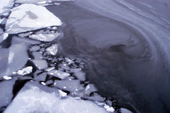 Broken ice floes in Stockholm. In winter parts of the Baltic Sea in Sweden can freeze and create interesting patterns Royalty Free Stock Photo