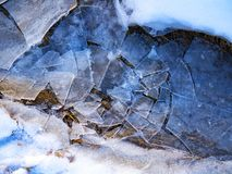 Broken ice in a mountain river. Ice is broken like a display stock photography