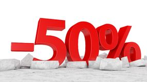 -50% on broken ice Royalty Free Stock Photography