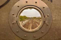 Broken industrial window and trainrails Stock Image