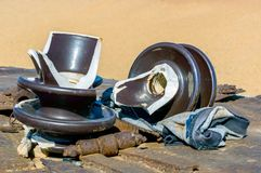 Broken Insulators for High Voltage stock photo