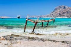 Broken iron wharf in Balos lagoon. Crete. Greece. View of broken iron wharf in Balos lagoon. Crete. Greece Royalty Free Stock Photography
