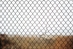 Broken iron wire fence Stock Photography