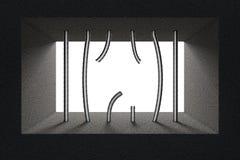 Broken Jail Bars in Prison Window. 3d Rendering Stock Photos