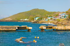 A broken jetty at paget farm, bequia Royalty Free Stock Photography