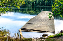 Broken jetty on Sognsvann Lake in Oslo Royalty Free Stock Image