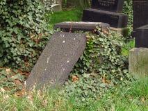 Broken jewish headstone Royalty Free Stock Photos