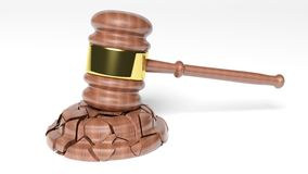 Broken Judge's Gavel. Over white background Stock Image