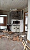 Broken kitchen interior. Kitchen interior in old abandoned house Royalty Free Stock Photo