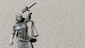 Broken lady of justice 3d rendering. Themis with scale and sword. Justice and law symbol statue stock image