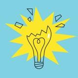 Broken lamp bulb icon. Concept of failure. Vector Royalty Free Stock Photos