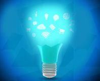 Broken lamp emitted icons and turquoise glow. Royalty Free Stock Image