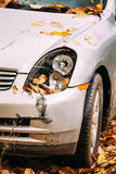 Broken Lamp Headlight And Bumper Car Scratched With Deep Damage Stock Images