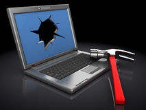 Broken laptop Royalty Free Stock Photos
