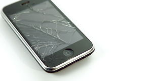 Broken lcd smartphone mobile on white background
