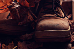 Broken leather shoes Stock Photo