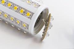 Broken LED bulb with E27. Broken E27 LED bulb with 54 LEDs Royalty Free Stock Photos