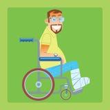 Broken leg trauma patient wheelchair. A broken leg. A trauma patient in a wheelchair with a bandaged leg Royalty Free Stock Photo