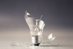 Broken Light Bulb. As problem situation concept Royalty Free Stock Image