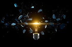 Broken light bulb on a black background. 3D Rendering Royalty Free Stock Image