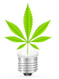 Broken light bulb and marijuana leaf Stock Photography