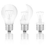 Broken light bulbs set Royalty Free Stock Photography