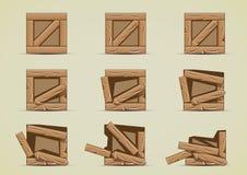 Broken light crates collections. Set of nine broken light crates Vector Illustration