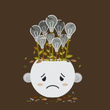 Broken lightbulb plant in sadly pot Royalty Free Stock Images