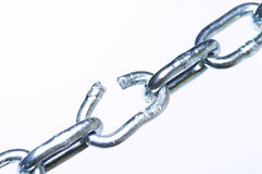 Broken link. In chain, close-up Stock Photos