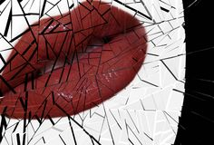 Broken lips Stock Image