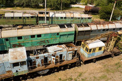 Broken locomotives Stock Images