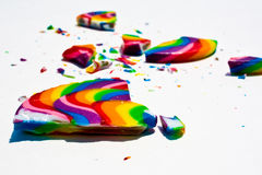 Broken Lollipop. Broken pieces of a brightly colored Lollipop Stock Image