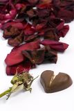 Broken Love. A withered red rose with a small heart chocolate.... broken. Lost love Stock Image