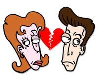 Broken love. Cartoon draw of broken love Royalty Free Stock Photography