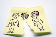 Broken love. Image with a drawing , a couple, broken love Stock Photos