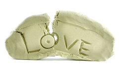 Broken love. Shape with white isolate background Royalty Free Stock Photography
