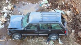 Broken machine left on a garbage dump. stock footage