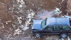 Broken machine left on a garbage dump. stock video
