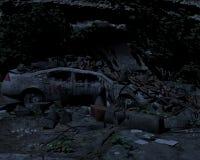 Broken machine in the ruins Stock Image