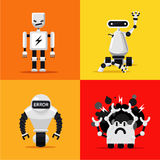 Broken mad robots set. Bad, errors and hacking programms. Flat style. Set of broken mad robots set. Bad, errors and hacked programms. Flat style. Cartoon Royalty Free Stock Photos
