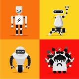 Broken mad robots set. Bad, errors and hacking programms. Flat style. Royalty Free Stock Photos