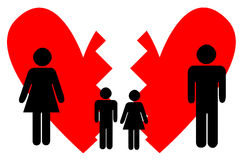 Broken marriage. With husband, wife and children in a messy situation Royalty Free Stock Images