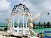 Broken Marriage. The gazebo under repair on a small island Blackbeard Cay in The Bahamas Royalty Free Stock Photos