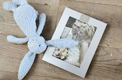 Broken marriage photo frame divorce. Broken photo frame of a married couple with children going for divorce Stock Photos