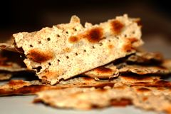 Broken matzo. Feast of Pesach. The Jewish Passover. Stock Images