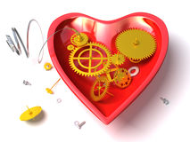 Broken mechanical heart  or red clock. Like heart with open clockwork. Conceptual and metaphorical 3d illustration isolated on white background Stock Images