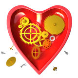 Broken mechanical heart  or red clock Royalty Free Stock Photo